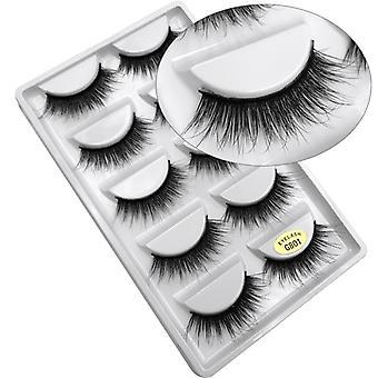 5-pair false eyelashes-3D faux mink-G801