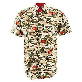 Claudio Lugli Tropical Flower Print Linen Short Sleeve Men's Shirt