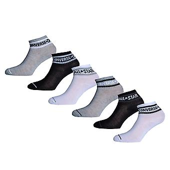 Boys Converse Basic Wordmark Quarter 6 Pair Socks In Grey/White/Black- 2 Pairs