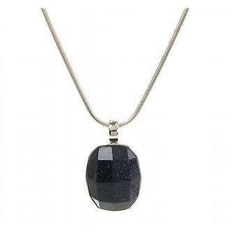 "Cavendish French Chunky and Square Blue Sandstone Pendant with 18 - 20"" Silver Chain"
