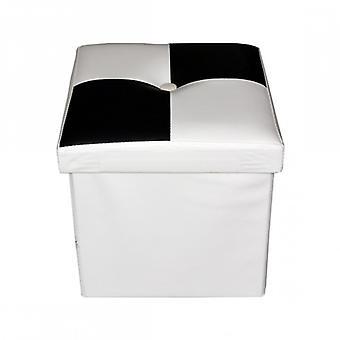 Furniture Rebecca Puff Modern Padded White Black Container 30x30x30