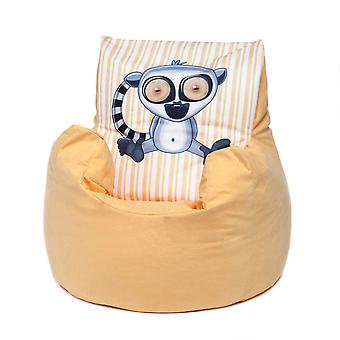 Loft 25® Toddler Animal Print Soft Plush Bean Bag Chair-Lemur, Yellow