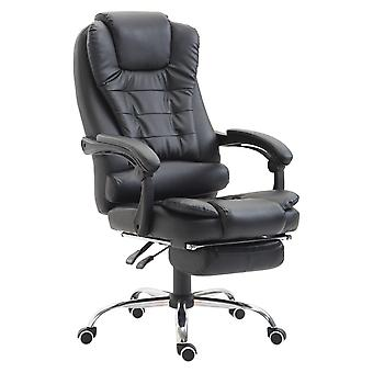 HOMCOM High Back Executive Office Chair Swivel Recliner PU Leather Padded  with Retractable Footrest (Black)
