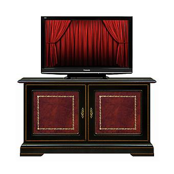 Low black TV holder with real leather