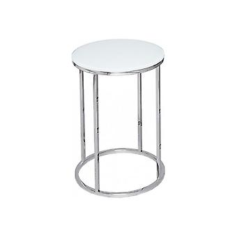 Gillmore Space White Glass And Silver Metal Contemporary Circular Side Table