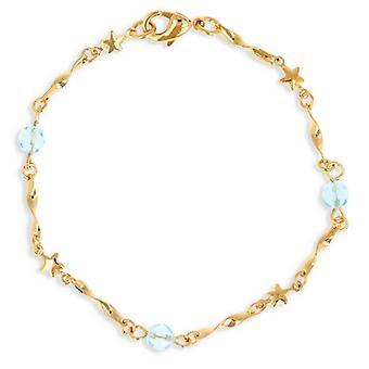 Collier Plaqué Or Avec Cristal Bleu 45cm