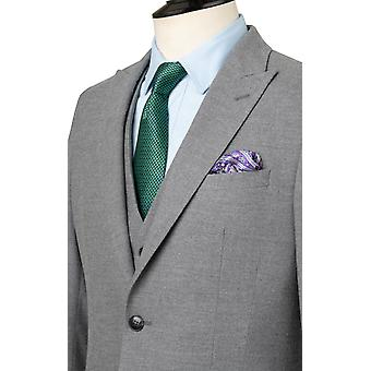 Dobell Mens Light Grey Suit Jacket Slim Fit Peak Lapel