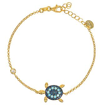 Turtle Turquoise Bracelet gold Blue Sea Blue Chain Charm 925 Gift Beach Gemstone