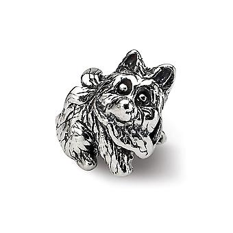 925 Sterling Silber poliert Antike Finish Reflexionen Kinder Hund Perle Charme