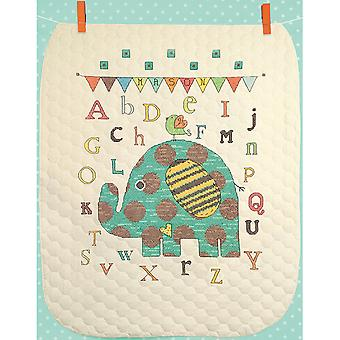 Baby Elephant ABC Quilt Stamped Cross Stitch Kit-34