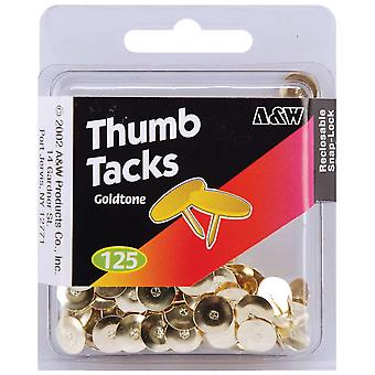 Thumb Tacks Goldtone 125 Pkg 461 18