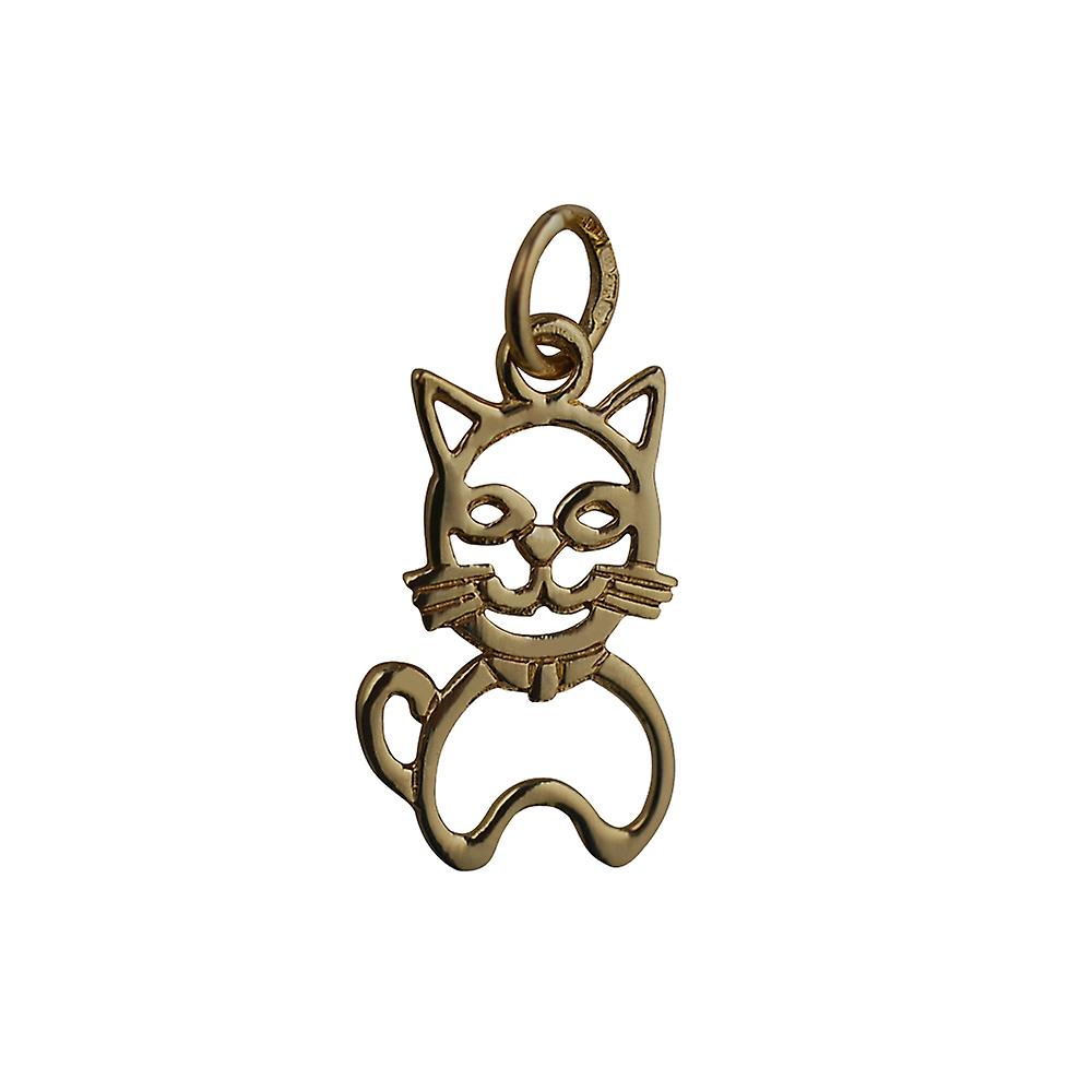 9ct or 17x12mm pierced sitting Cat pendentif or Charm