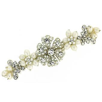 Pretty Fresh Water Pearl Swarovski Crystal Daisy Flower Hair Clip Barrette