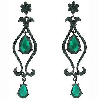 Oversized Green Stone and Clear Crystal Drop Earrings