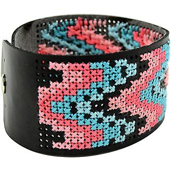 Faux Leather Bracelet Punched For Cross Stitch-8