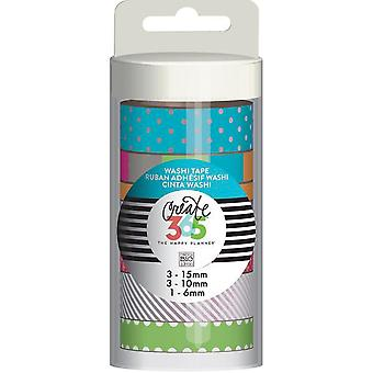 Create 365 Washi Tape 7/Pkg-Neon WTT-15