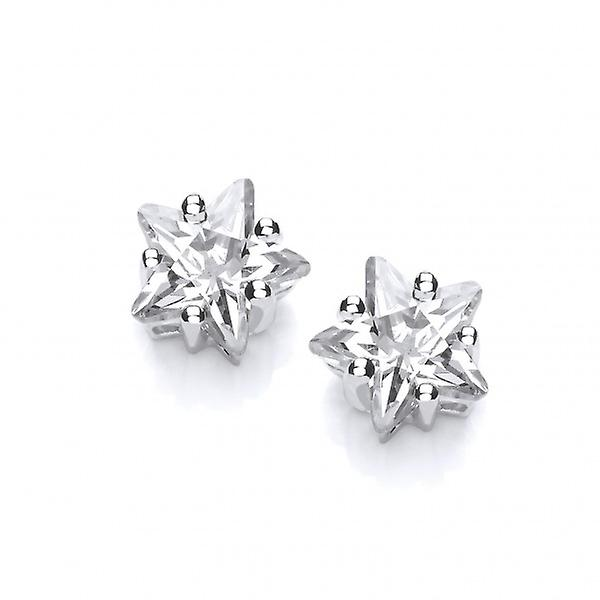 Cavendish French Sterling Silver and CZ Star Earrings