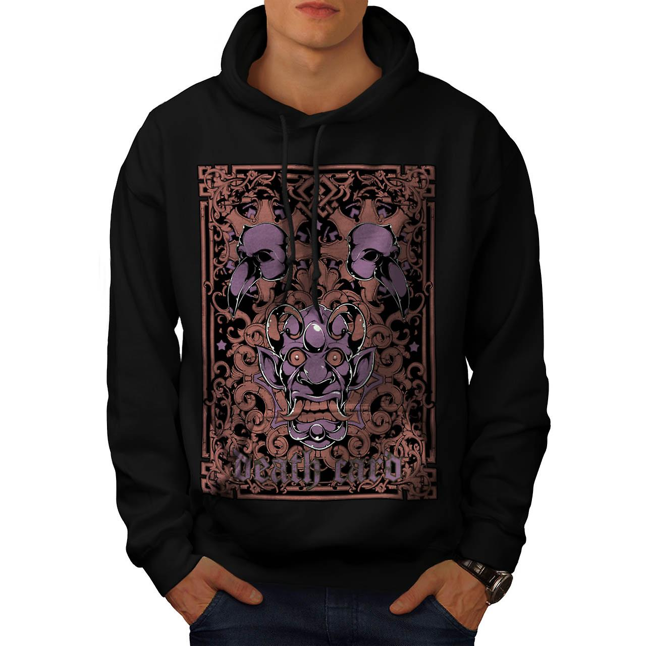 Devil Death Card Bird Gambling Men Black Hoodie | Wellcoda