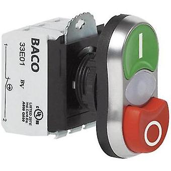 Double head pushbutton Front ring (PVC), chrome-plated Green, Red BACO L61QC21L 1 pc(s)