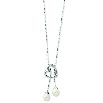Ster. Silver Freshwater Cultured Pearl CZ Heart Lariat Necklace - 18 Inch