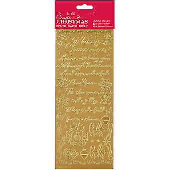 Papermania Outline Stickers-Traditional Christmas Verses - Gold PM810912