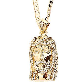 Iced out bling MINI necklace - JESUS gold