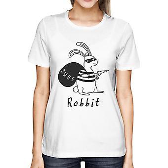 Rabbit Funny Graphic Design Printed Women's Cute White Shirt