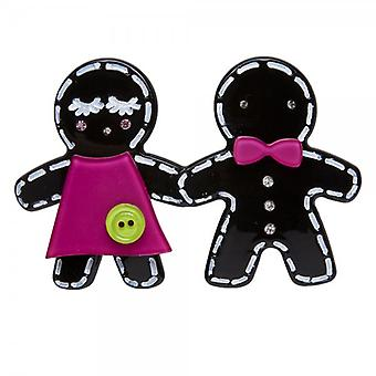 Camille Big Baby Womens Ladies Fashion Jewellery Black And Fuchsia Pink Gingerbread Man Brooch Pin