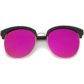 Womens Oversize Half-Frame Mirrored Flat Lens Round Sunglasses 68mm