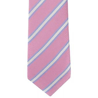 Michelsons of London Classic Stripe Silk Tie - Pink/White/Blue