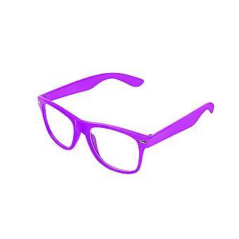 Color Vintage retro Geek Punk Unisex Wayfare estilo cero número lente claro cristales de gafas - púrpura