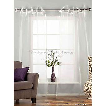 White Tie Top  Sheer Tissue  Curtain / Drape / Panel  - 84