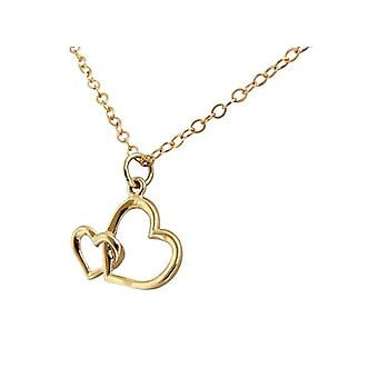 Heart chain gold of double heart pendant in 14 k (585) gold plated chain