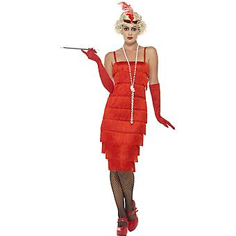 Smiffys Flapper Costume Red With Long Dress Headband & Gloves (Costumes)