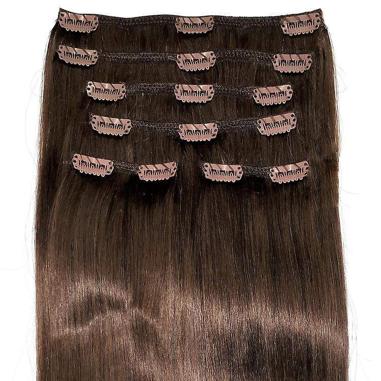 #6 - naturbraun, Brünette, Luxus, vollen Kopf, echte Clip-in Hair Extensions - 100 % Remy, dreifach Schuß, dicken Menschenhaar