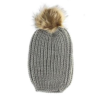 Womens Winter Knitted Beanie Hat with Detachable Faux Fur Pom Pom