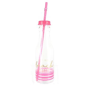 'Dont Worry Beach Happy' Pink Screw Lid Stripe Design Plastic Straw Bottle