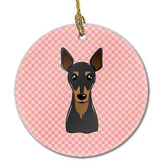 Carolines Treasures  BB1240CO1 Checkerboard Pink Min Pin Ceramic Ornament