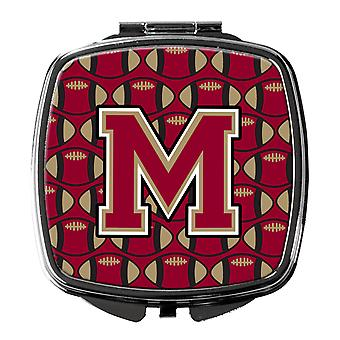Letter M Football Garnet and Gold Compact Mirror