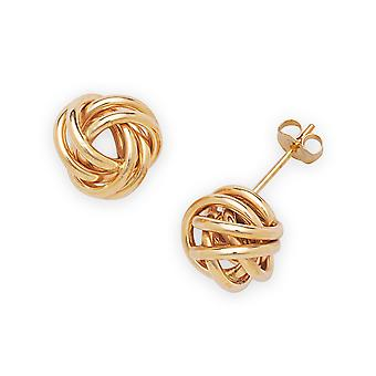 14k Yellow Gold Cubic Zirconia Large Love Knot Earrings - Measures 10x10mm
