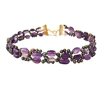 Gemshine - ladies necklace - necklace - Amethyst - beads - gold plated purple - violet-