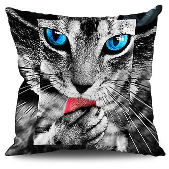 Cute Furry Kitty Paw Cat Linen Cushion Cute Furry Kitty Paw Cat | Wellcoda