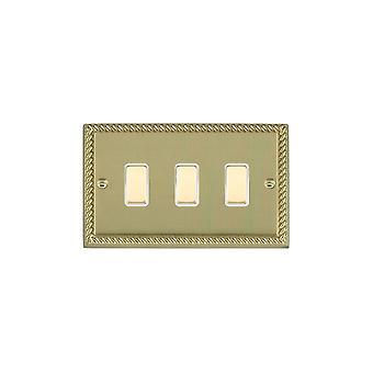 Hamilton Litestat Cheriton Georgian Polished Brass 3g 250W M-Way Touch Mast PB/WH