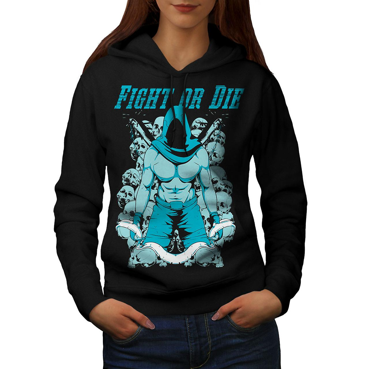 Fight Or Die Gym Sport Women Black Hoodie | Wellcoda