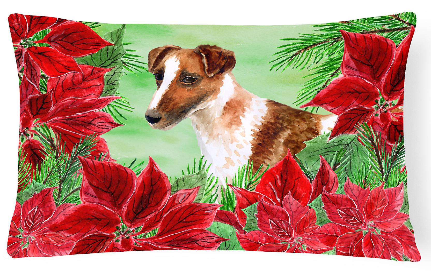 Fox Canvas Decorative Smooth Pillow Poinsettas Fabric Terrier uKl5Fc3T1J