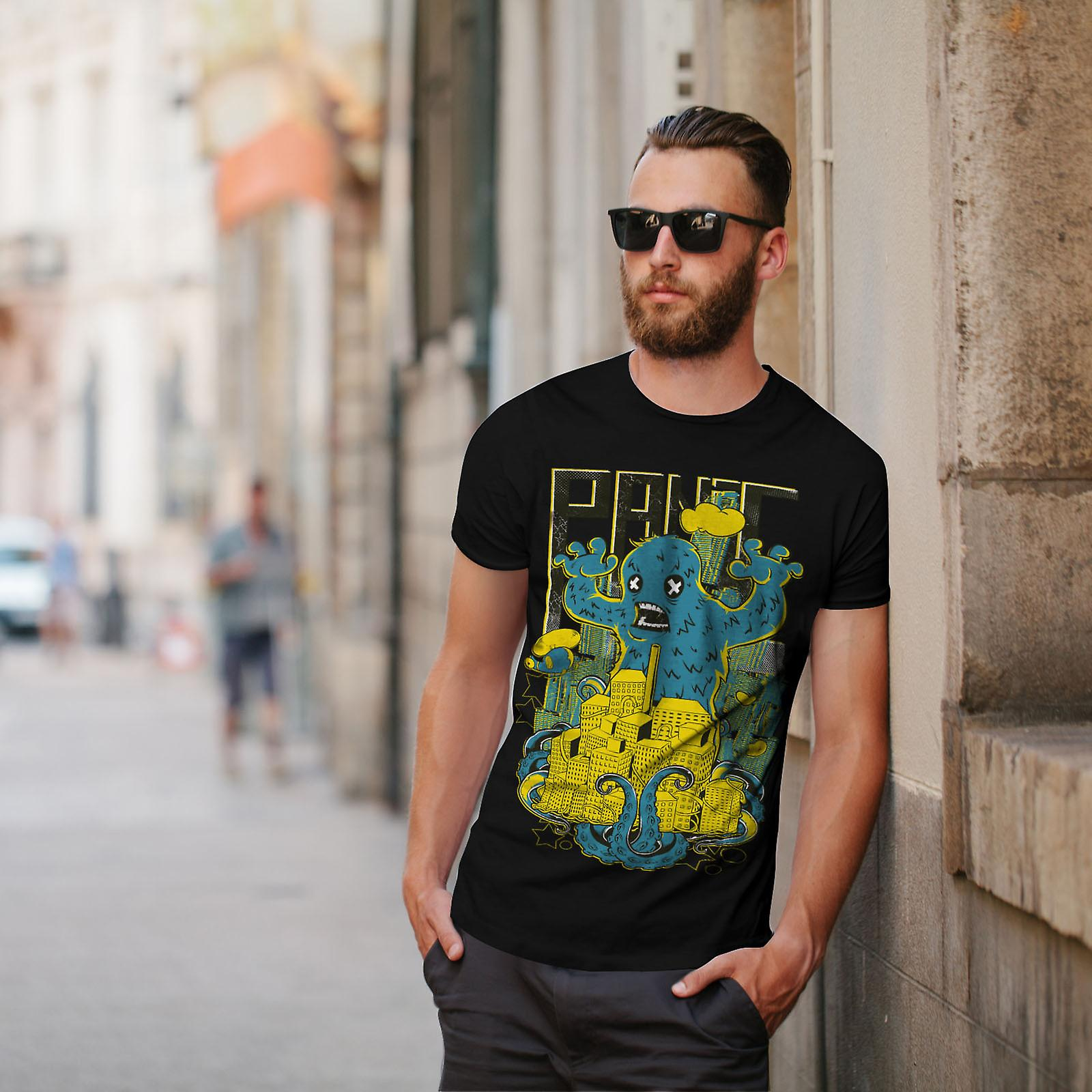 Panic Monster City Horror Men BlackT-shirt | Wellcoda