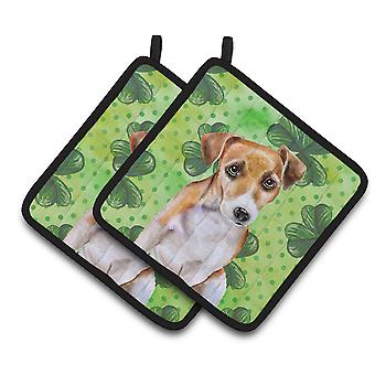Jack Russell Terrier #2 St Patrick's Pair of Pot Holders
