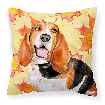Carolines Treasures  BB9965PW1414 Basset Hound Fall Fabric Decorative Pillow