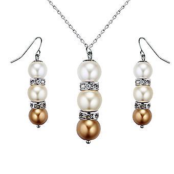 Set Halskette und Ohrringe Perlen gelb, Kristall und Rhodium Platte