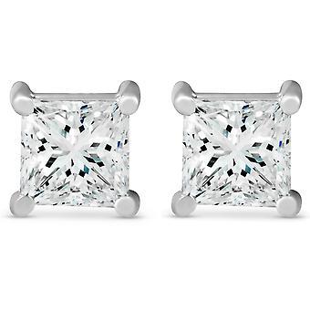 2CT TDW diamante taglio Princess vite borchie 14k oro bianco migliorato